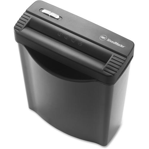 "Swingline GS5 Personal Shredder - Strip Cut - 5 Per Pass - for shredding Paper, Credit Card - 0.3"" Shred Size - Level 2 - 2.26 m/min - 8.8"" Throat - 3 Minute Run Time - 30 Minute Cool Down Time - 9.84 L Wastebin Capacity - Gray"
