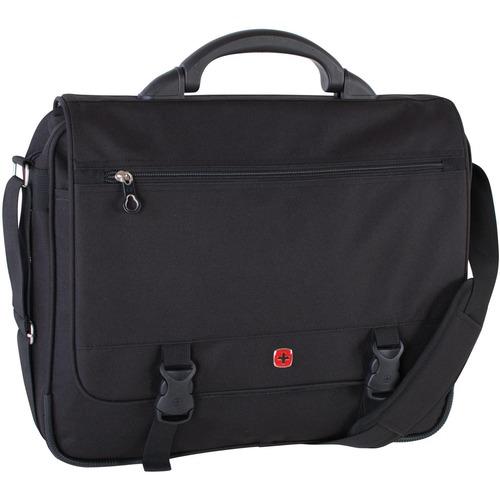 "Swissgear Carrying Case (Messenger) for 15.6"" Notebook - Black - Polytex - Handle, Shoulder Strap - 13"" (330.20 mm) Height x 17"" (431.80 mm) Width x 7"" (177.80 mm) Depth - 1 Pack"