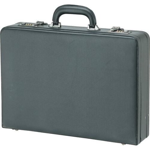 """Nextech Carrying Case (Attaché) Document, Accessories - Black - Leather - Handle - 13"""" (330.20 mm) Height x 18"""" (457.20 mm) Width x 5"""" (127 mm) Depth - 1 Pack"""