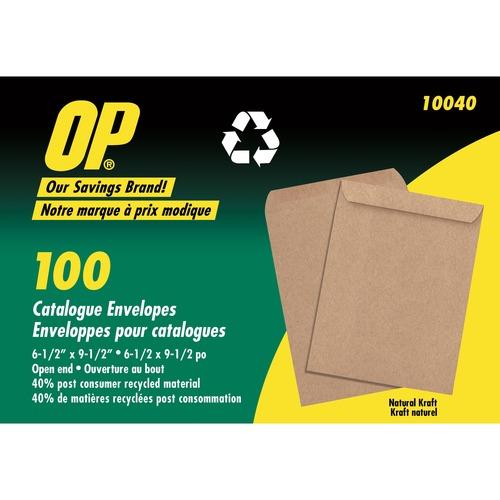 """OP Brand Natural Kraft Catalogue Envelope - Catalogue - 6.5"""" x 9.5"""" - Kraft - 100/Pack - Natural"""