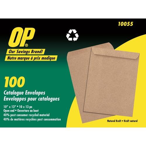 """OP Brand Natural Kraft Catalogue Envelope - Catalogue - 10"""" x 13"""" - Kraft - 100 / Pack - Natural"""