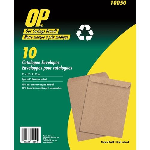 """OP Brand Natural Kraft Catalogue Envelope - Catalogue - 9"""" x 12"""" - Kraft - 10 / Pack - Natural"""