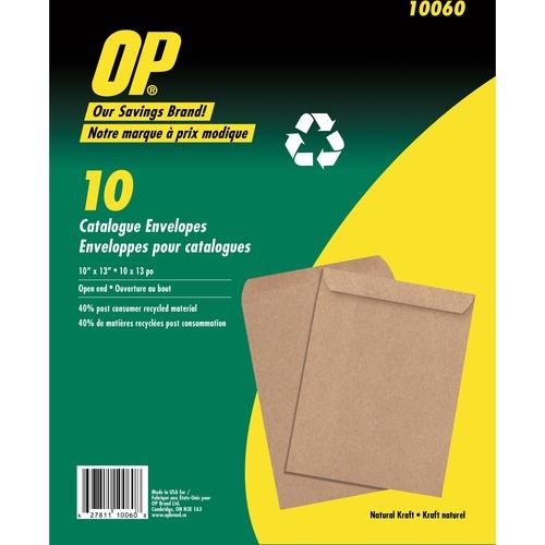"""OP Brand Natural Kraft Catalogue Envelope - Catalogue - 10"""" x 13"""" - Kraft - 10 / Pack - Natural"""