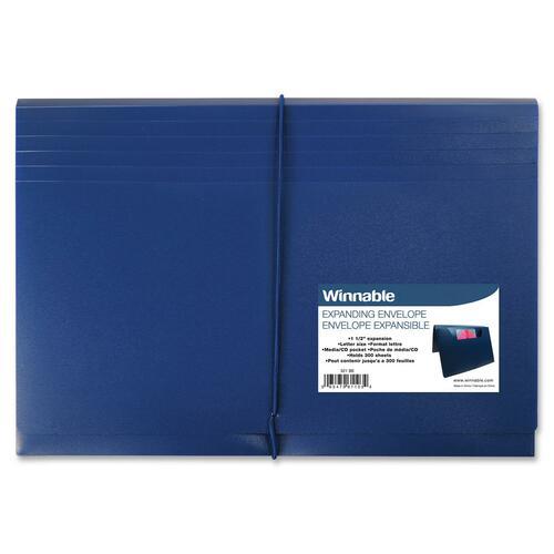 "Winnable Letter Expanding File - 8 1/2"" x 11"" - 300 Sheet Capacity - 1 1/2"" Expansion - Polypropylene - Blue - 1 Each"