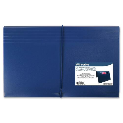 "Winnable Legal Expanding File - 8 1/2"" x 14"" - 300 Sheet Capacity - 1 1/2"" Expansion - Polypropylene - Blue - 1 Each"