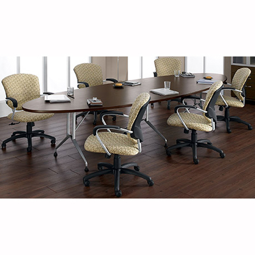 """Global Alba Conference Table - Tiger Walnut Elliptical Top - Sculpted Base - 144"""" Table Top Length x 48"""" Table Top Width - 29"""" Height - Laminated"""