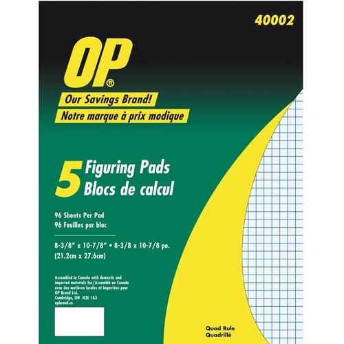 "OP Brand Figuring Pad - 96 Sheet - Quad Ruled - 8.37"" x 10.87"" - 5 / Pack - White Media"