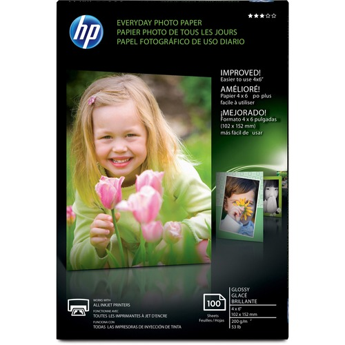 """HP Everyday Inkjet Photo Paper - White - 4"""" x 6"""" - 53 lb Basis Weight - Glossy - 100 / Pack - Design for the Environment (DfE)"""
