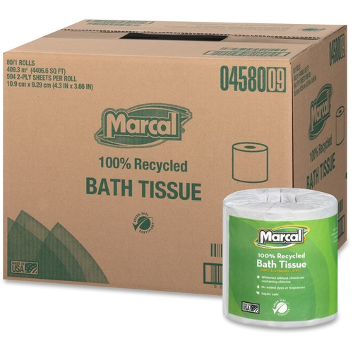 """Marcal 100% Recycled, Soft & Absorbent Bathroom Tissue - 2 Ply - 3.66"""" x 4.30"""" - 504 Sheets/Roll - White - Soft, Lint-free, Septic Safe, Easy to Use,"""