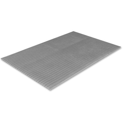 "Crown Mats Tuff-Spun Foot-Lover Mat - Service Counter, Mailroom, Cashier's Station, Warehouse, Cement Floor - 60"" Length x 36"" Width x 0.38"" Thickness - Rectangle - Vinyl, PVC Sponge - Gray"