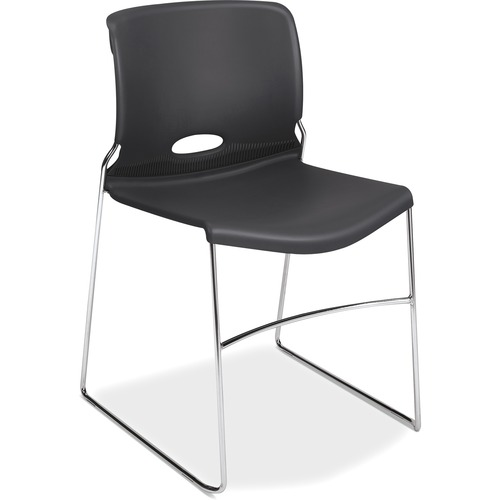"""HON Olson Stacking Chair, 4-Pack - Lava Plastic Seat - Steel Frame - Sled Base - Charcoal - 17.75"""" Seat Width x 18.25"""" Seat Depth - 19.1"""" Width x 21.6"""