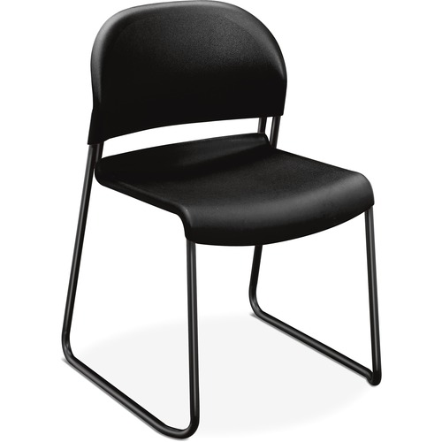 """HON GuestStacker Stacking Chairs - 4/CT - Onyx Plastic Seat - Black Frame - Black - 18"""" Seat Width x 19"""" Seat Depth - 21"""" Width x 21.5"""" Depth x 31"""" He"""