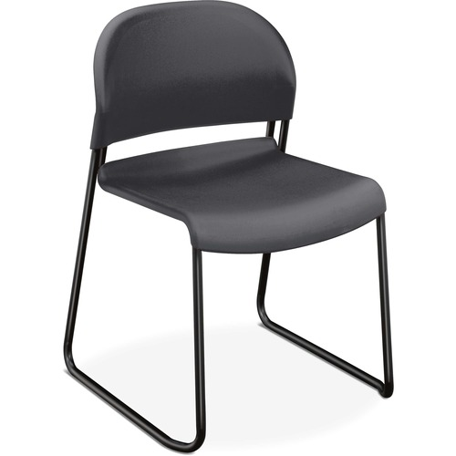 "HON GuestStacker Stacking Chairs - 4/CT - Lava Plastic Seat - Black Frame - Black - 18"" Seat Width x 19"" Seat Depth - 21"" Width x 21.5"" Depth x 31"" He"