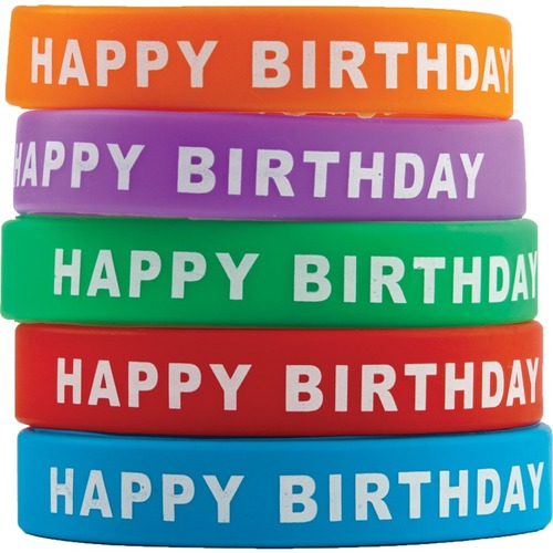 """Teacher Created Resources Happy Birthday Wristbands - 10 / Pack - 7.25"""" (184.15 mm) Length - Silicone"""