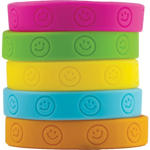 """Teacher Created Resources Happy Faces Wristbands - 10 / Pack - 7.25"""" (184.15 mm) Length - Silicone"""