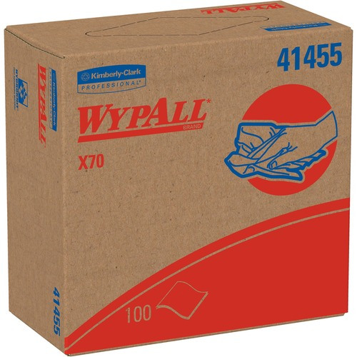 """Wypall X70 Wipers Pop-up Box - 9.1"""" x 16.8"""" - White - Hydroknit - Durable, Absorbent, Strong, Reusable, Embossed - For Multipurpose - 100 Per Box - 100 / Box"""