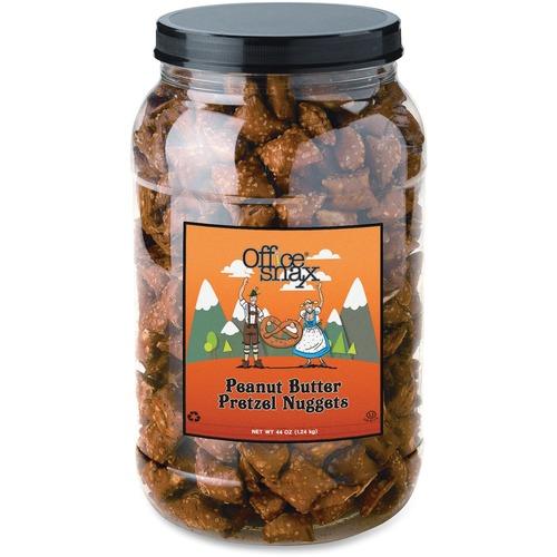 Office Snax Nugget Style Peanut Butter Pretzels - Resealable Tub - Peanut Butter - 1 Each