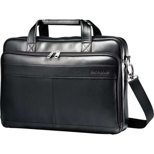 "Leather Slim Brief Case, 2-1/2""x15-3/4""x11-3/5"", Black"