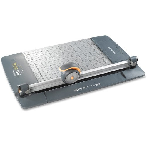 "Westcott TrimAir Rotary Paper Trimmers - Cuts 15Sheet - 18"" (457.20 mm) Cutting Length - 4"" (101.60 mm) Height x 9"" (228.60 mm) Width x 27"" (685.80 mm) Depth - Titanium Blade, Metal Base - Gray"