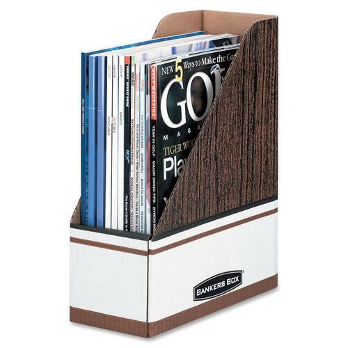 Fellowes Bankers Box Open-Back Magazine File - Wood Grain, White - Cardboard - 12 / Carton