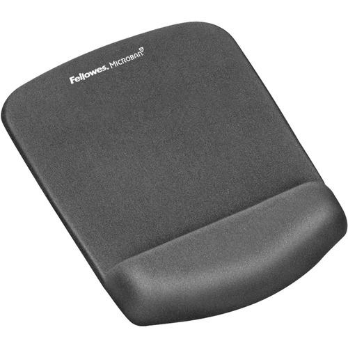 "Fellowes PlushTouch™ Mouse Pad Wrist Rest with Microban® - Graphite - 1"" x 7.3"" x 9.4"" Dimension - Graphite - Polyurethane, Foam - Wear Resi"