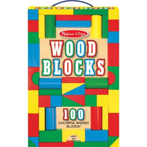 Melissa & Doug 100 Wood Blocks Set - Theme/Subject: Fun - Skill Learning: Matching, Stacking, Building, Mathematics, Motor Skills, Shape, Color - 3-15 Year - 100 Pieces