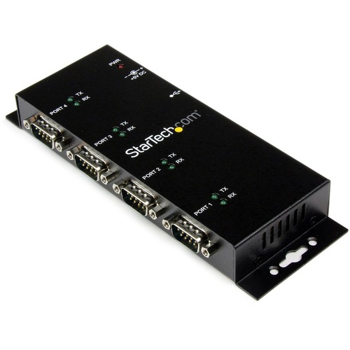 StarTech.com 4 Port USB to DB9 RS232 Serial Adapter Hub | Industrial DIN Rail and Wall Mountable