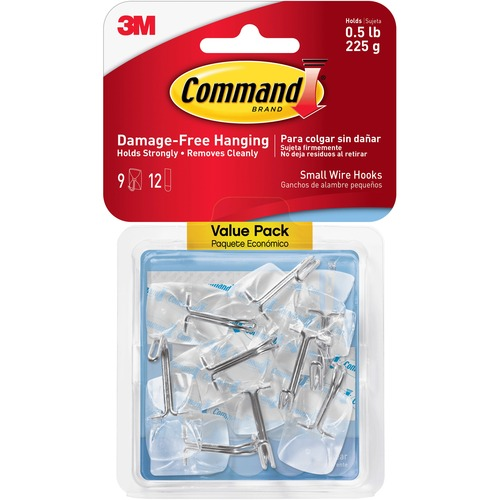 """Command Small Wire Hooks - 9 Small Hook - 8 oz (226.8 g) Capacity - 1.6"""" Length - for Utensil, Pictures, Mirror - Plastic - Clear - 9 / Pack"""