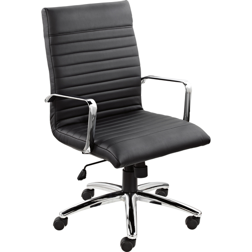 Offices To Go Ultra High Back Tilter - Black - Bonded Leather - 1 Each