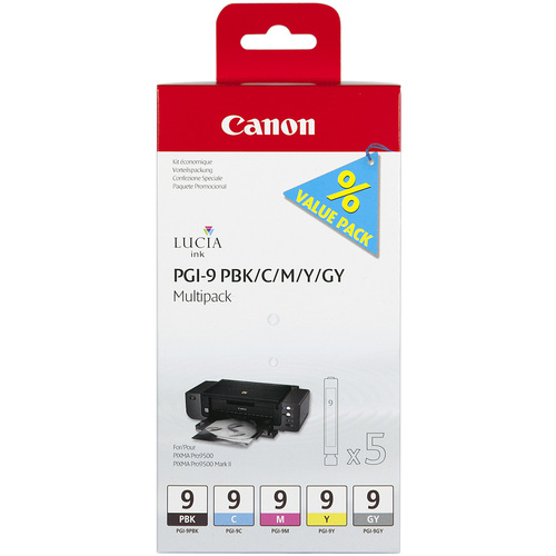 Canon LUCIA PGI-9 Ink Cartridge - Photo Black, Cyan, Magenta, Yellow, Grey
