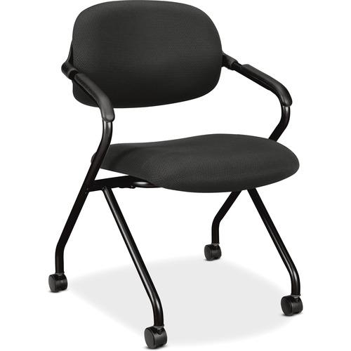 "HON Floating Back Nesting Chairs - 1/CT - Black Seat - Mesh Fabric Back - Black Frame - Four-legged Base - 23.6"" Width x 23"" Depth x 32.3"" Height - 1"
