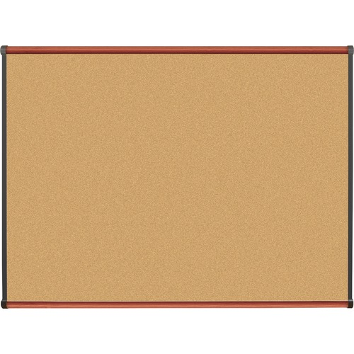 "Lorell Bulletin Board - 48"" (1219.20 mm) Height x 36"" (914.40 mm) Width - Natural Cork Surface - Durable, Self-healing - Cherry Wood Frame - 1 Each"