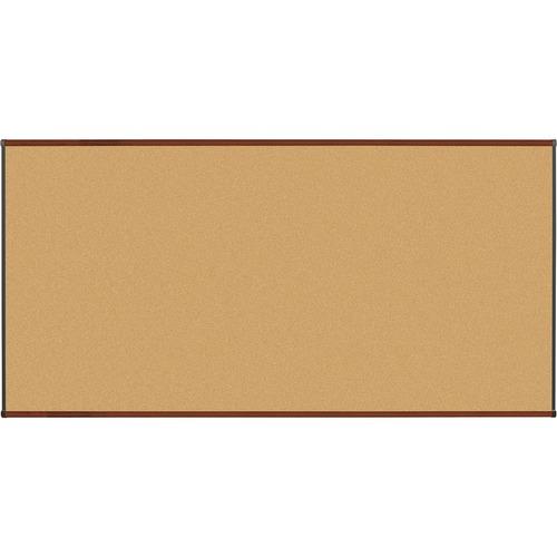 "Lorell Bulletin Board - 96"" (2438.40 mm) Height x 48"" (1219.20 mm) Width - Natural Cork Surface - Self-healing, Durable - Mahogany Wood Frame - 1 Each"