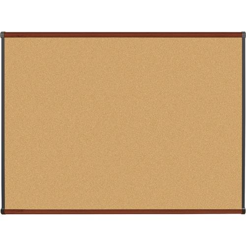 "Lorell Bulletin Board - 48"" (1219.20 mm) Height x 36"" (914.40 mm) Width - Natural Cork Surface - Self-healing, Durable - Mahogany Wood Frame - 1 Each"