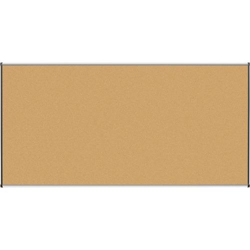 "Lorell Satin-Finish Bulletin Board - 96"" (2438.40 mm) Height x 48"" (1219.20 mm) Width - Natural Cork Surface - Durable, Self-healing - Silver Anodized Aluminum Frame - 1 Each"