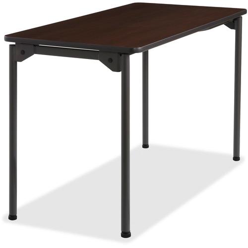 "Iceberg Maxx Legroom Wood Folding Table - Melamine Rectangle Top - Four Leg Base - 4 Legs - 24"" Table Top Width x 48"" Table Top Depth x 0.75"" Table To"
