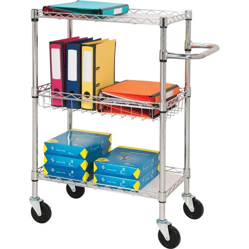 """Lorell 3-Tier Rolling Carts - 44.91 kg Capacity - 4 Casters - Steel - x 16"""" Width x 26"""" Depth x 40"""" Height - Chrome - 1 Each"""