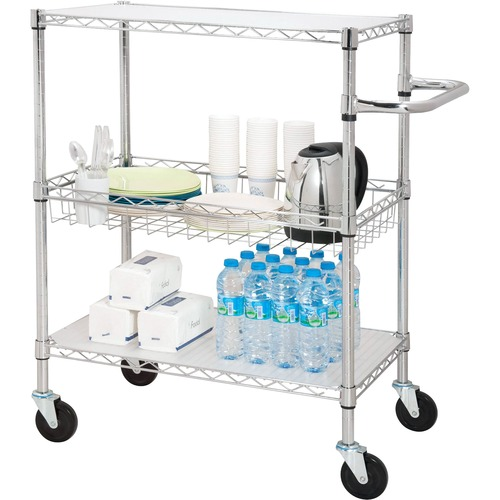 """Lorell 3-Tier Rolling Carts - 44.91 kg Capacity - 4 Casters - Steel - x 18"""" Width x 30"""" Depth x 40"""" Height - Chrome - 1 Each"""