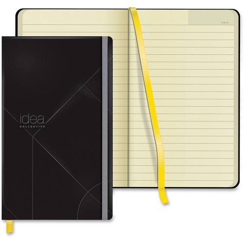"""TOPS Idea Collective Wide-ruled Journal - 240 Sheets - Book Bound - 8 1/4"""" x 5"""" - 0.63"""" (15.88 mm) x 5"""" (127 mm)8.25"""" (209.55 mm) - Cream Paper - Black Cover - Durable Cover, Elastic Band, Acid-free - 1Each"""