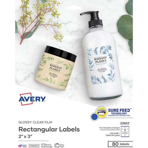 Avery® Glossy Clear Labels -Sure Feed Technology - Permanent Adhesive - Rectangle - Laser, Inkjet - Crystal Clear - Film - 8 / Sheet - 10 Total Sheets - 80 Total Label(s) - 80 / Pack