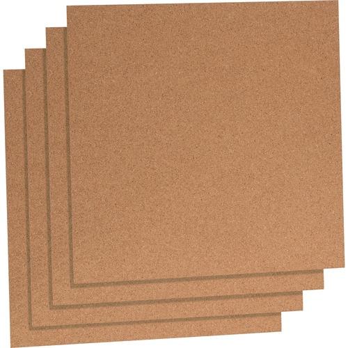 "Lorell Natural Cork Panels - 12"" (304.80 mm) Height x 12"" (304.80 mm) Width - Brown Cork Surface - 4 / Pack"