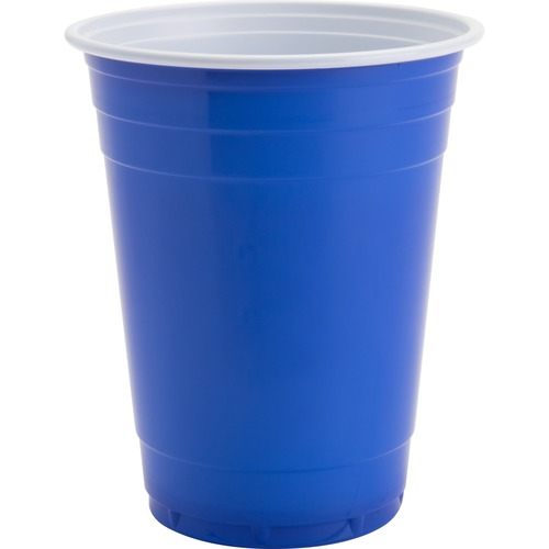 Genuine Joe 16 oz Plastic Party Cups - 473.18 mL - 50 / Pack - Blue, White - Plastic - Party, Cold Drink