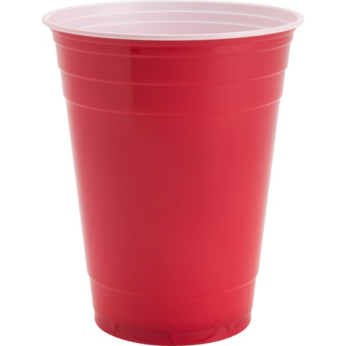 Genuine Joe 16 oz Plastic Party Cups - 473.18 mL - 50 / Pack - Red - Plastic - Party, Cold Drink