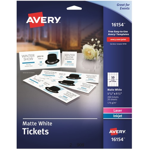 Avery® Blank Printable Perforated Raffle Tickets - Tear-Away Stubs - Permanent Adhesive - Laser, Inkjet - Matte White - 20 / Sheet - 200 / Pack