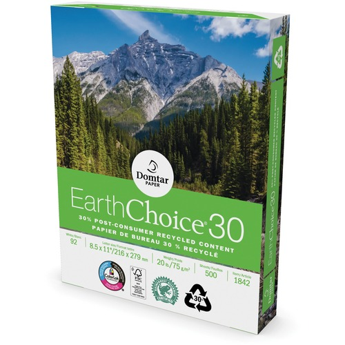 """Domtar EarthChoice30 Recycled Office Paper - 88% Opacity - Letter - 8 1/2"""" x 11"""" - 20 lb Basis Weight - 1 Carton - White"""