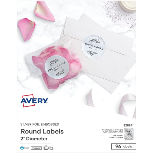 """Avery® Easy Peel(R) Embossed Foil Labels, Permanent Adhesive, Matte Silver, Round, 2"""" , 96 Labels (22824) - Permanent Adhesive - Round - Inkjet - Silver - Paper - 12 / Sheet - 8 Total Sheets - 96 Total Label(s) - 96 / Pack"""
