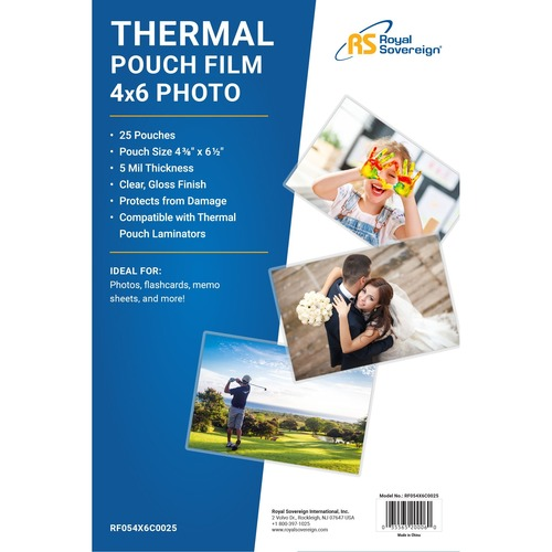 "Royal Sovereign Card Size (4"" x 6"") 5mil Thermal Laminating Pouch-25 Pack"