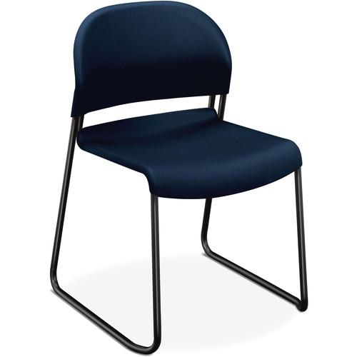 "HON GuestStacker Stacking Chairs - 4/CT - Regatta Plastic Seat - Black Frame - Blue - 18"" Seat Width x 19"" Seat Depth - 21"" Width x 21.5"" Depth x 31"""
