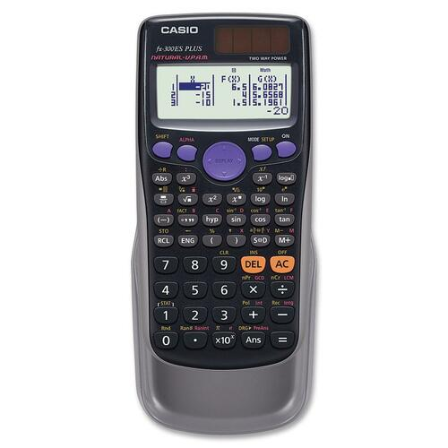 """Casio FX300ESPL Scientific Calculator - 249 Functions - Textbook Display, Independent Memory, Slide-on Hard Case, Plastic Key, Auto Power Off, Dual Power - 2 Line(s) - 10 Digits - Battery/Solar Powered - 3.2"""" x 0.4"""" x 6.4"""" - Black - 1 Each"""