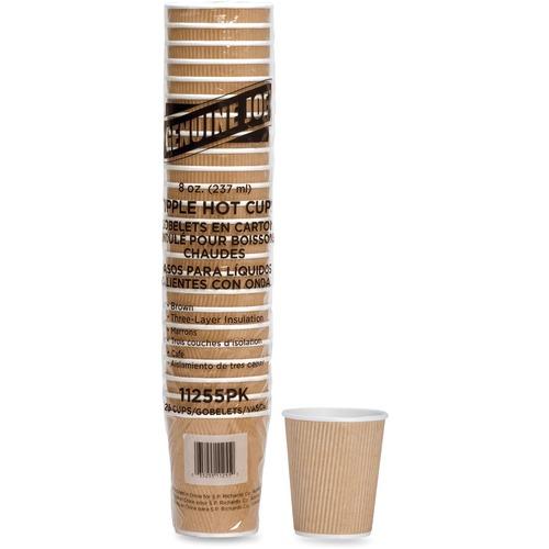 Genuine Joe Rippled Hot Cup - 236.59 mL - 25 / Pack - Brown - Beverage, Hot Drink